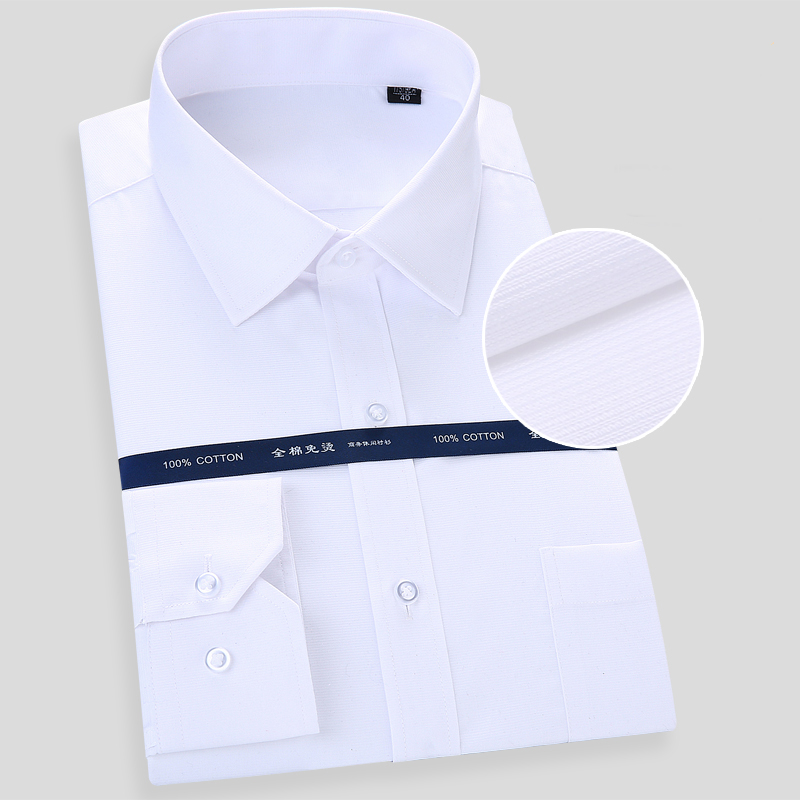 GREVOL Men's Solid Basic Dress Shirt Formal Business Long Sleeve White Tops Striped Shirts For Social Work Office Wear Colthes