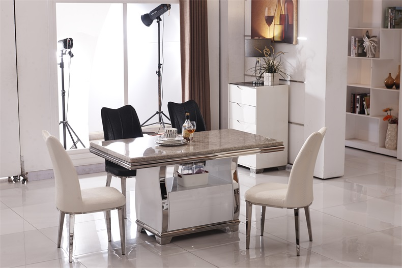 Stainless steel Dining Room Set Home Furniture minimalist modern marble dining table and 4 chairs mesa de jantar muebles comedor