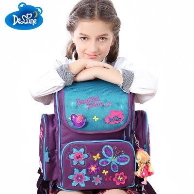 New Fashion Cute Bear Butterfly Girls School Bags Orthopedic Backpack School Portfolio Kids Knapsack School Bag for Grade 1-5