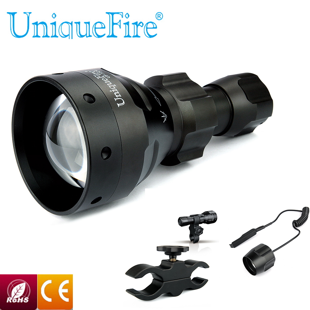 Uniquefire Flashlight UF-1504 Lamp IR940nm Led Lanterna Tactical Flashlight 67mm Convex Lens whit 1 Remote switch 1 Scope mount uniquefire night vision t67 flashlight uf 1405 ir 850nm led flashlight kit lamp torch remote pressure scope mount charger