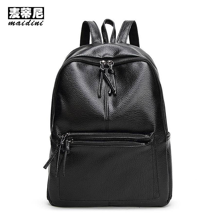 PU Leather Backpack Fashion Women Black Backpacks Preppy School Bags For Teenage Girls Simple Solid Lady Casual Backpack Mochila