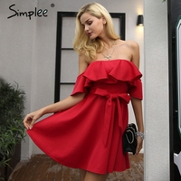 Simplee Off Shoulder Ruffle Red Women Dress Sexy Strapless Waist Belt Loose Dress Vestidos Autumn Night