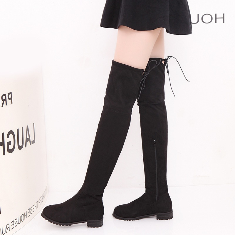 Women Winter High Boots Thigh High Boots Female Shoes Fashion Suede Over The Knee Boots Square Heel Women Shoes Plus Size 35-43 bonjomarisa big size women high heel boots over the knee thigh high boots sexy lady fashion winter shoes knight boots xb345