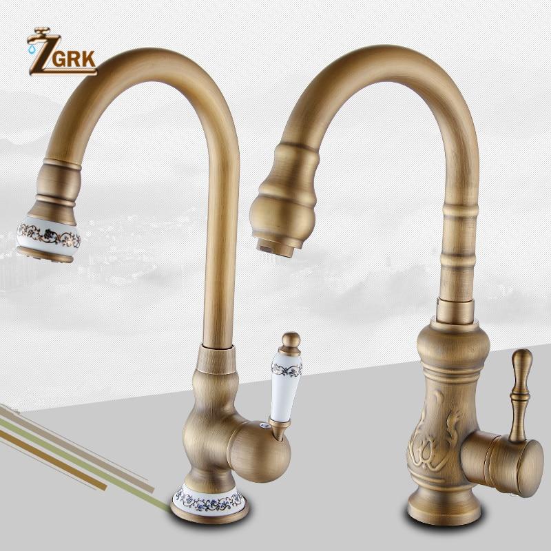 ZGRK Kitchen Faucets Deck Mounted Mixer Tap 360 Degree Crane Antique Brass Kitchen Faucet Rotation Spray Mixer Tap