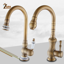 ZGRK Kitchen Faucets Deck Mounted Mixer Tap 360 Degree Crane Antique Brass Kitchen Faucet Rotation Spray Mixer Tap цена 2017