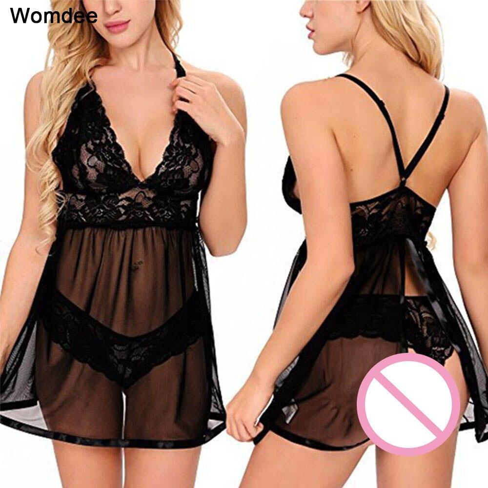 2 Pcs Frauen Sexy Dessous Spandex Kleid Nachthemd Unterwäsche Backless Damen Babydoll Nachtwäsche Erotische Schlaf Tops Eine Hohe Bewunderung Gewinnen