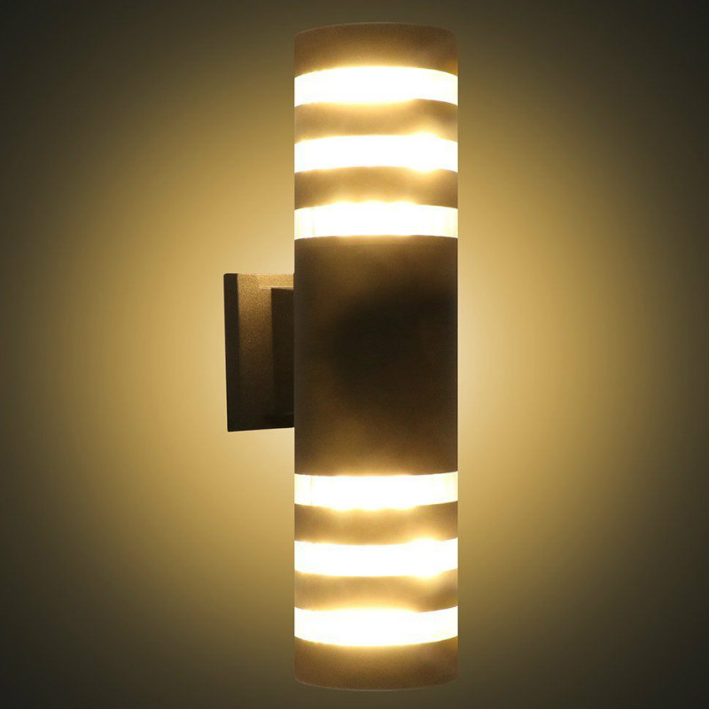 Us 27 68 30 Off 9w E27 Led Modern Exterior Wall Light Sconce Dual Head Lamp Fixture Outdoor Porch Waterproof Up Down Cylinder Lights In
