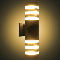 9W E27 LED Modern Exterior Wall Light Sconce Dual Head Wall Lamp Fixture Outdoor Porch Waterproof Up Down Cylinder Wall Lights