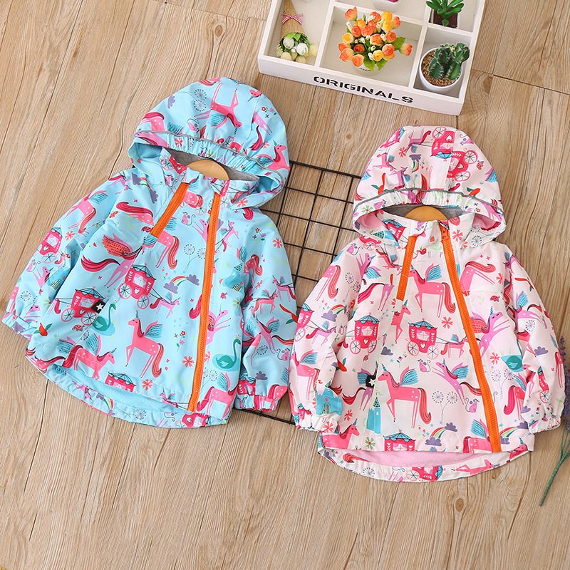 Fashion Autumn Baby Girls Jacket Unicorn Children Trench Hooded Fleece Outerwear Kids Spring Coat Teenager Waterproof Jacket шина michelin pilot super sport 255 40r20 101y