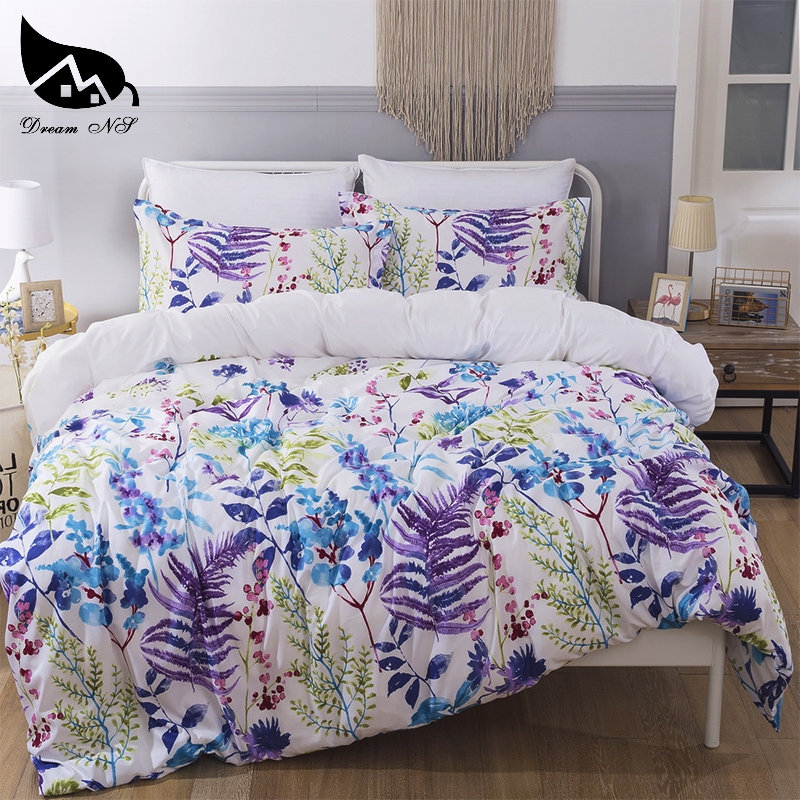 Leaves Purple Flower Bedding Set