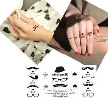 Bittb 5PCS Waterproof Glasses Mustache Hat Spade Pictures Small Temporary Tattoo Sticker Fake Body Art Arm Sleeve Paste Paper