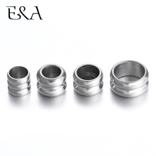 Stainless Steel Spacer Beads Large Hole Slider 8mm 5mm Charms Leather Bracelet Jewelry Making DIY Supplies Accessories Findings