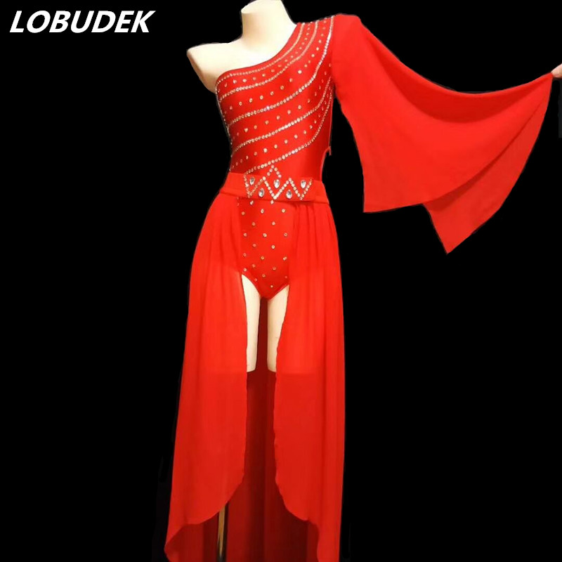 Sexy Red Crystals Bodysuit Long Cloak Set Women Costume Models Show Stage  Wear Nightclub Lady Singer Dancer Performance Clothing-in Chinese Folk Dance  from ... d03ba24215ee