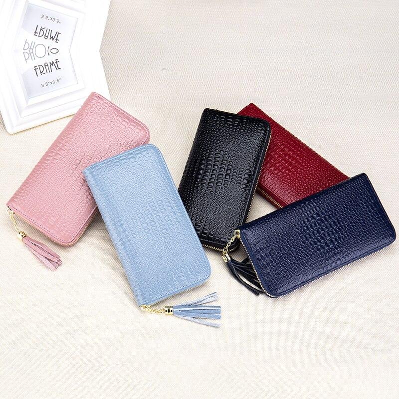 Zipper Womens Wallets Purses Genuine Cow Leather Crocodile Pattern Money Organizer Clutch Bag Pouch Card Case