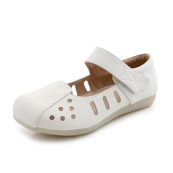 Zapatos De Lactancia Blanco | Nuevas Enfermeras Mujeres Hospital ZAPATOS DE TRABAJO Blanco Plano Con Tendón Suave Inferior Antideslizante Hueco Verano Sandalias Transpirables Casual Zapatos