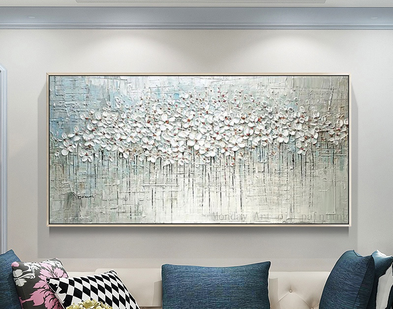 100% Handpainted Oil Painting On Canvas New Handmade Knife Flower Oil Painting Wall Art Picture Home Decoration For Living Room