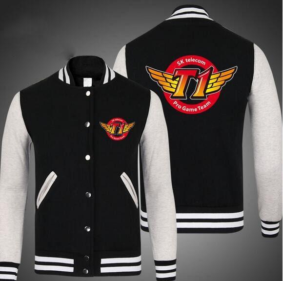 SKT T1 Faker Marin LOL Unisex Long Sleeve Cosplay Baseball Jacket Free Shipping
