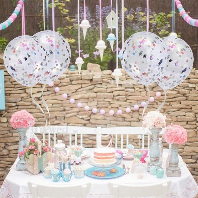 Multicolor 12 Inch Clear Metallic Foil Confetti Balloons Birthday