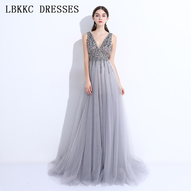 Light Grey Backless Prom Dresses Long Gala Jurken Tulle Beaded Vestido  Formatura Sleeveless Slit Prom Dress Women Evening Dress adba0b05167