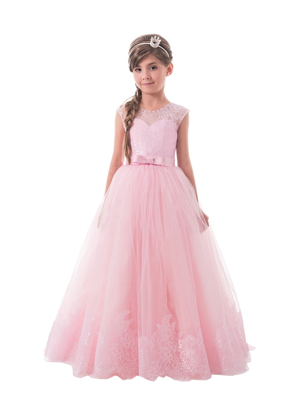 New Pink Lace Flower Girl Dress For Wedding O-neck Little Girl Pageant Dresses Kids Wedding Party Dress vestido para свадебное платье wedding dress v vestido noiva w1201