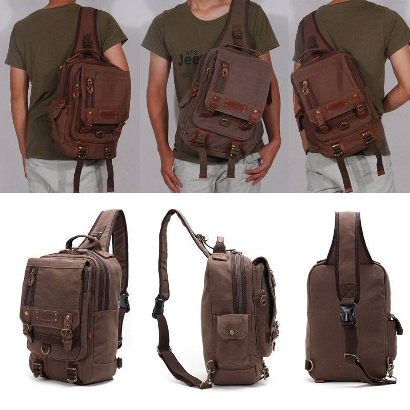 New Men Canvas Messenger Shoulder Bags Chest Pack Casual Travel Single Shoulder Pack Bag Male Military Satchel Chest Bag CA3038