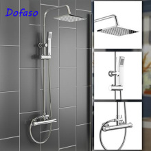 Dofaso bath square shower set Chrome Thermostatic Water Shower Faucet Set Bath Tub Mixers with Handshower 8 Dual Handle frap bathroom shower faucet round square abs shower head bath shower mixers set with handshower wall mount shower arm y24010