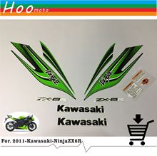 ZX 6R 09-12 Full Decals Stickers Graphics Kit Set Motorcycle Whole Vehicle 3M for Kawasaki Green Fairing