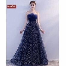 8bcd73a830b56 JaneyGao Abiye Uzun Ile 2019 Yeni Şık Mavi Sequins Kadın Zarif Resmi Balo  Parti Elbisesi abendkleider