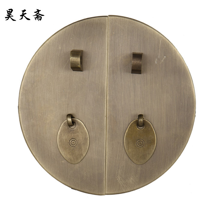 [Haotian vegetarian] classic round 24cm copper handle Chinese antique Ming and Qing furniture accessories HTK-015