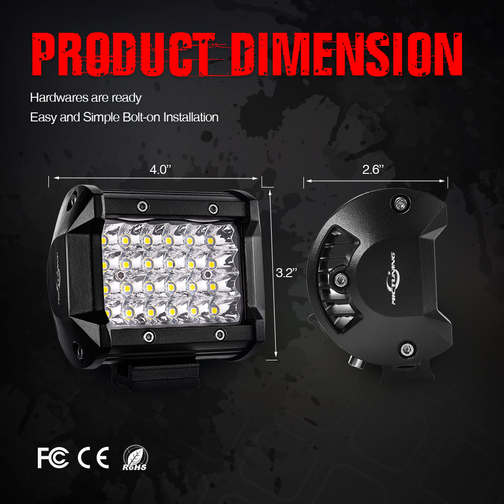 Image 3 - 2pcs 4 inch 72W Spot LED Work Light Bar 12V 24V Offroad LED Light Bar Car 4X4 4WD Truck SUV ATV Trailer Pickup Driving LED BeamLight Bar/Work Light   -