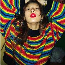 Female Korean xuan jas Harajuku Hong Kong-flavored Loose Striped Sweater Women's Sweaters Japanese Kawaii Ulzzang  For Women female korean harajuku hong kong flavored loose rainbow stripe sweater women s pullover sweaters