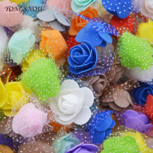 50Pcs/lot 3.5cm Mini PE Foam Roses Handmade DIY Wreath Wedding Decoration Multi-use Artificial Flower Heads Home Garden Supplies