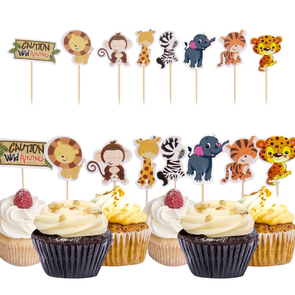 Swell Urijk 24Pcs Animal Cupcake Toppers Birthday Party Wedding Funny Birthday Cards Online Benoljebrpdamsfinfo