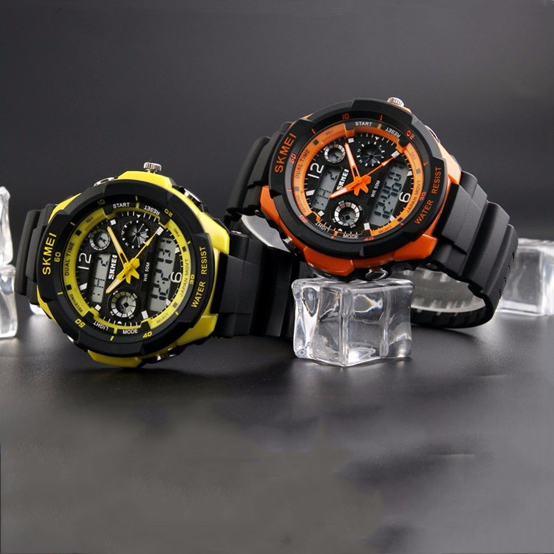 Electronic Quartz Wristwatches Dual Display Analog Digital LED Multifunctional Men Male Military Sports Watches Waterproof tvg male sports watch men full stainless steel waterproof quartz watch digital analog dual display men s led military watches