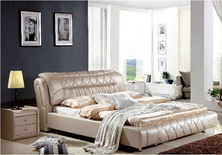 High quality factory price royal large king size Genuine leather soft bed bedroom furniture 0543High quality factory price royal large king size Genuine leather soft bed bedroom furniture 0543