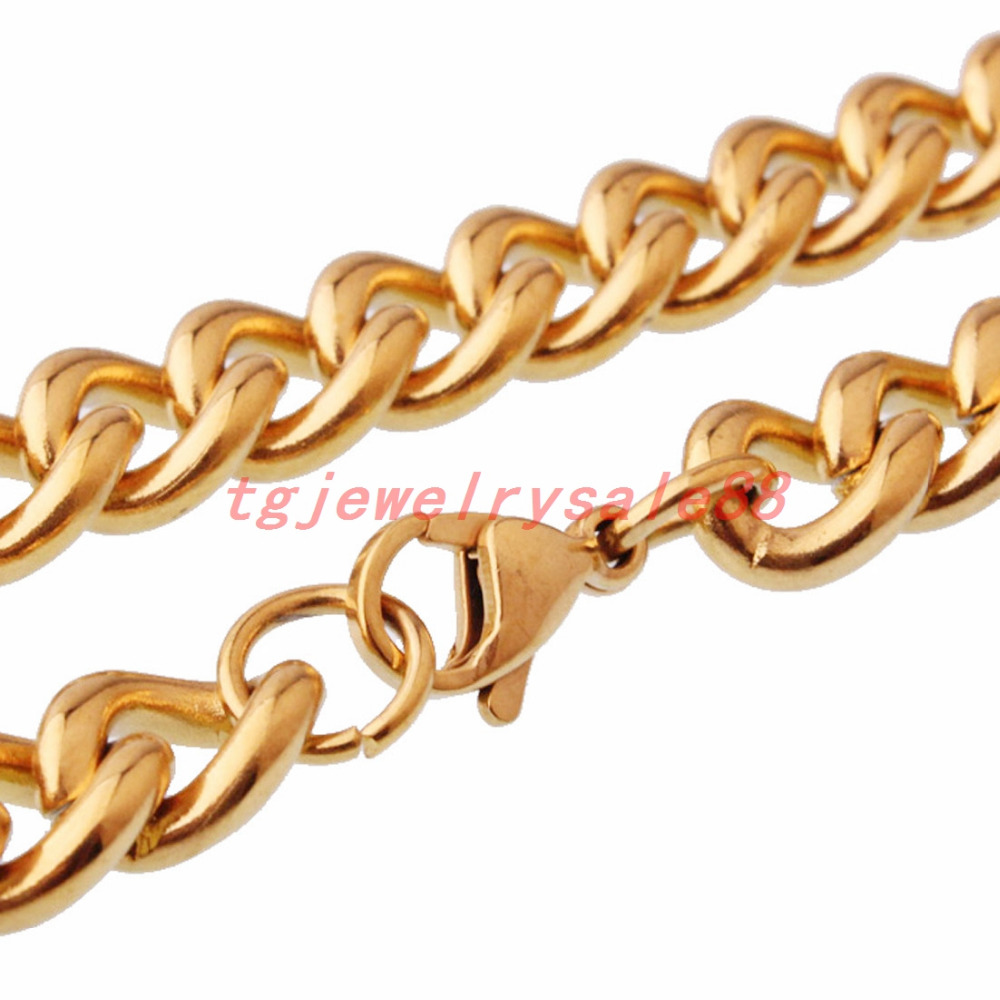 16-38inches Custom Size Stainless Steel Cuban Curb Link Chain Fashion Gold Color Chain Necklace Choker Men's Biker Jewelry 9mm