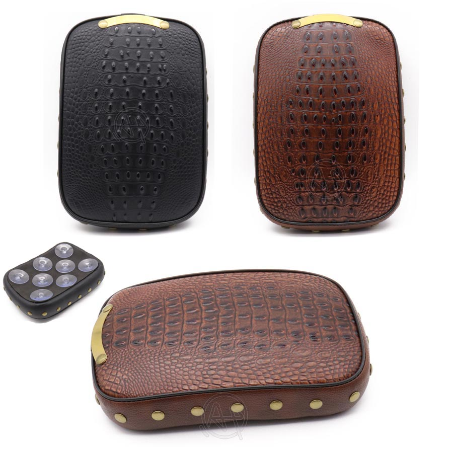 Motorcycle Rear Fender Riveting Solo Seat Cover Crocodile PU Leather Style Pillion Pad Brown 8 Suction Cups for Harley Cafe