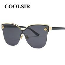 COOLSIR 2019 Vintage Women Cat Eye Sunglasses New Oversize Frame Rimless Female Sun Glasses Brand Design Shades UV400