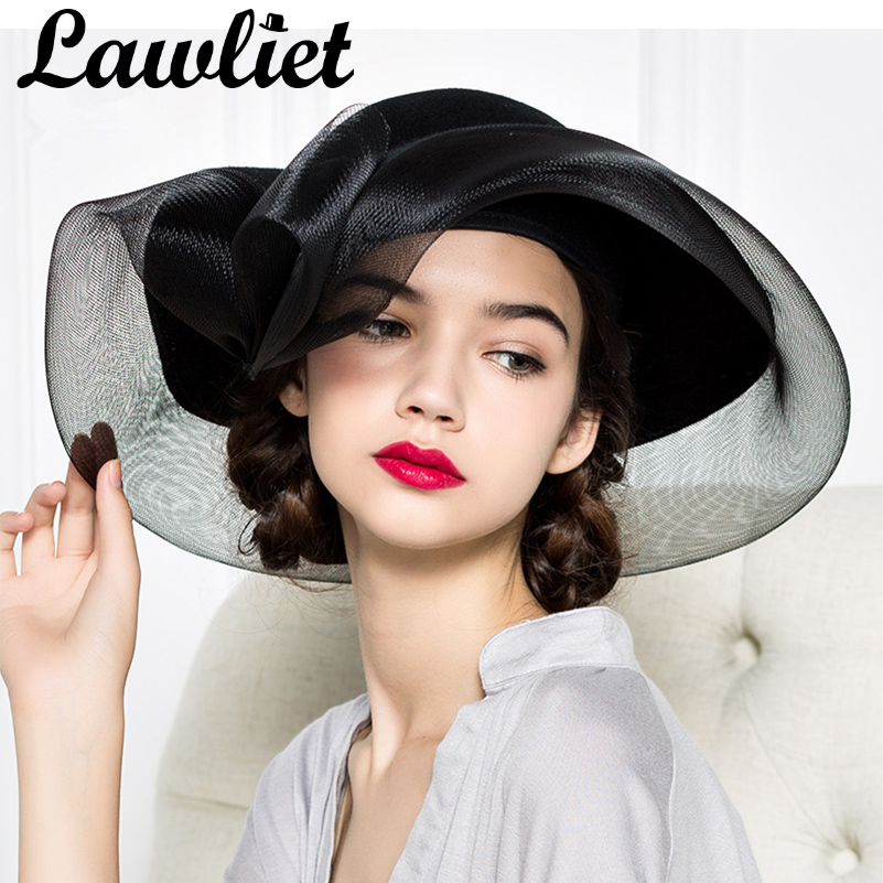 Black Women Fedoras 100% felt Wool Ladies Fascinators Downton Abbey Vintage Style Wide Brim Hat Church Race Kentucky Derby Weddi
