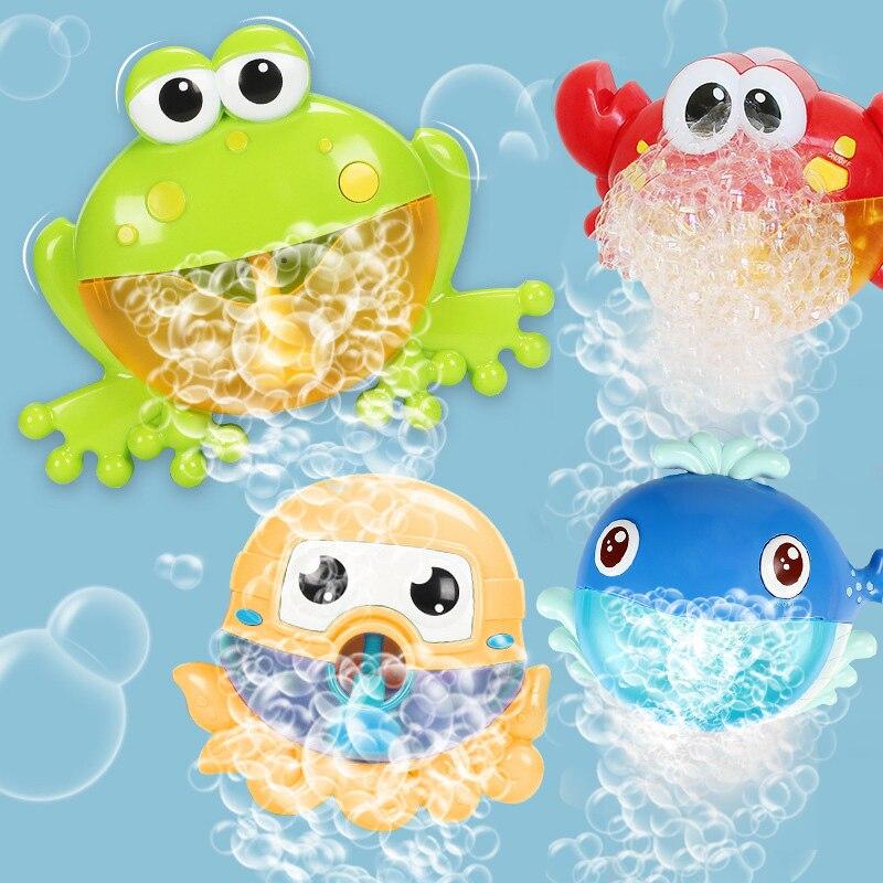 Juguetes de baño de burbujas de cangrejo de rana pulpo ballena máquina de espuma de baño oyuncak para niños de ducha de natación chico agua