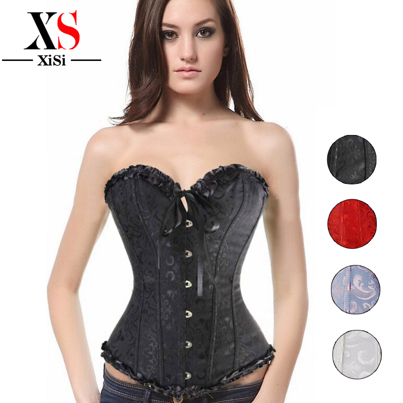 waist trainer cincher white corset lingerie steel boned corset plus size halloween costumes for women steampunk clothing - Bustier Halloween Costumes