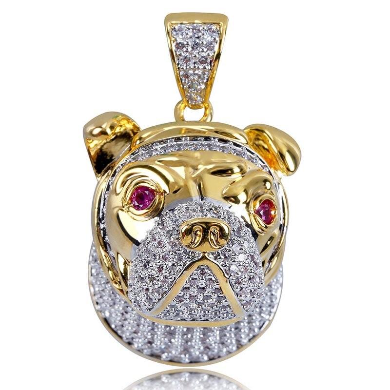 MISSFOX Hip Hop rubis Eye Jingba chien Long collier 24k plaqué or bijoux AAA cubique zircone glacé sur grands hommes pendentif - 2