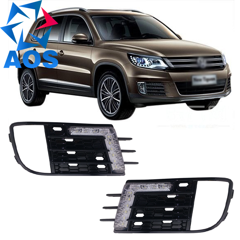 2PCs/set LED Daylight drl lamp Car led Daytime Running light For Volkswagen VW Tiguan 2013 2014 wljh 2x canbus led 20w 1156 ba15s p21w s25 bulb 4014smd car lamp drl daytime running light for volkswagen vw t5 t6 transporter