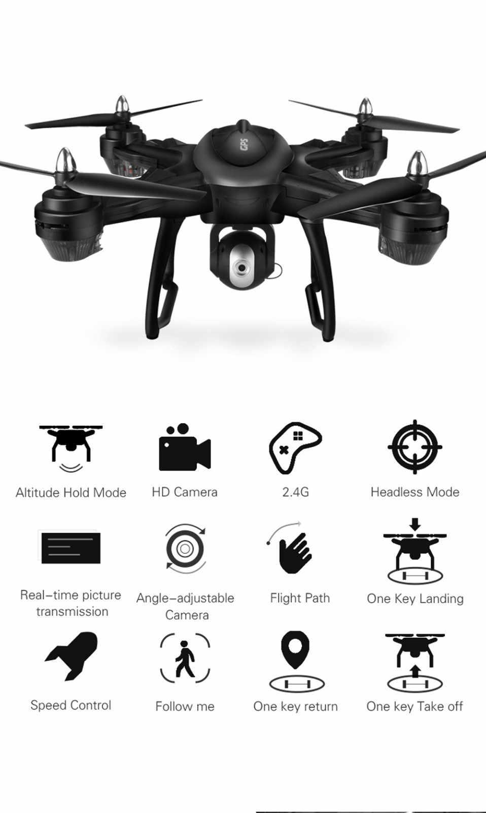 LH-X38G Dual GPS mini FPV drone con HD 1080 P Cámara Wifi RC Drone Quadcopter + batería Drones con cámara minion volador HD caliente