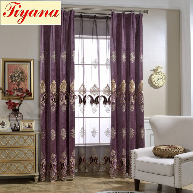 European Luxury King Queen Purple Embroidered Gold Curtains For The Living Room With Sheer