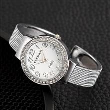 Silver Diamond Bracelet Jewelry Watches Luxury Quartz Women