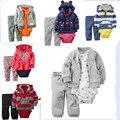 Новый Одежда для новорожденных набор 3-х Частей Боди С Капюшоном С Длинными Рукавами Верхняя Одежда Брюки набор девочка и Мальчик комплект Одежды