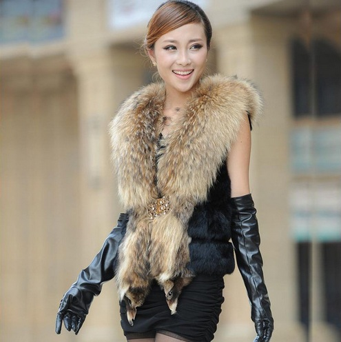 95064b3b41 luxury rabbit fur coat with big raccoon fur collar women s real rabbit fur  jacket rabbit fur vest Free shipping H264-in Fur   Faux Fur from Women s  Clothing ...