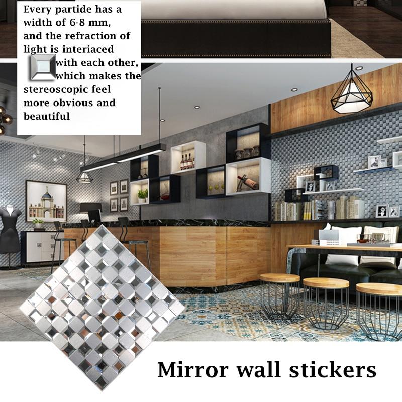 Wholesale Silver KTV Waterproof Glass Wall Sticker Silver New Design 30cm Adesivo De Parede Room Decoration Aluminum Alloy Panel