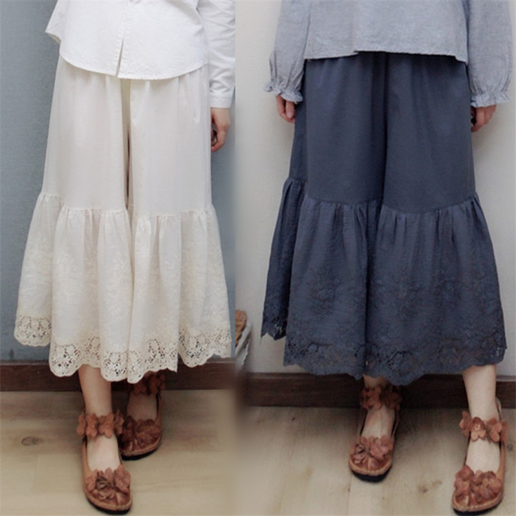 mori girl lace lacing patchwork Wide leg pants cotton basic pants female